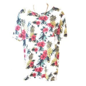 BDG top with pineapple and hibiscus print L